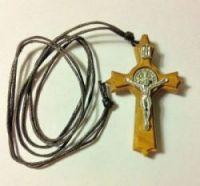 Крест деревянный (олива) 46х30мм с четырьмя металлическими элементами