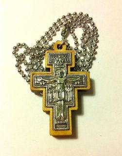Крест св. Дамиана деревянный (олива) 46х29мм с металлическими элементами и цепочкой